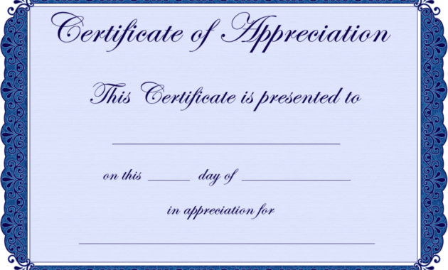Free Printable Certificates Certificate Of Appreciation in Certificate Of Appreciation Template Free Printable