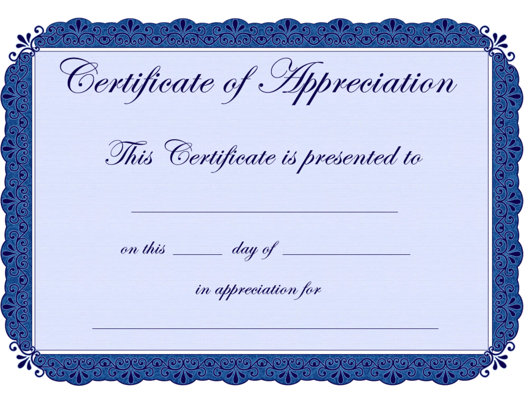 Free Printable Certificates Certificate Of Appreciation in Free Completion Certificate Templates For Word