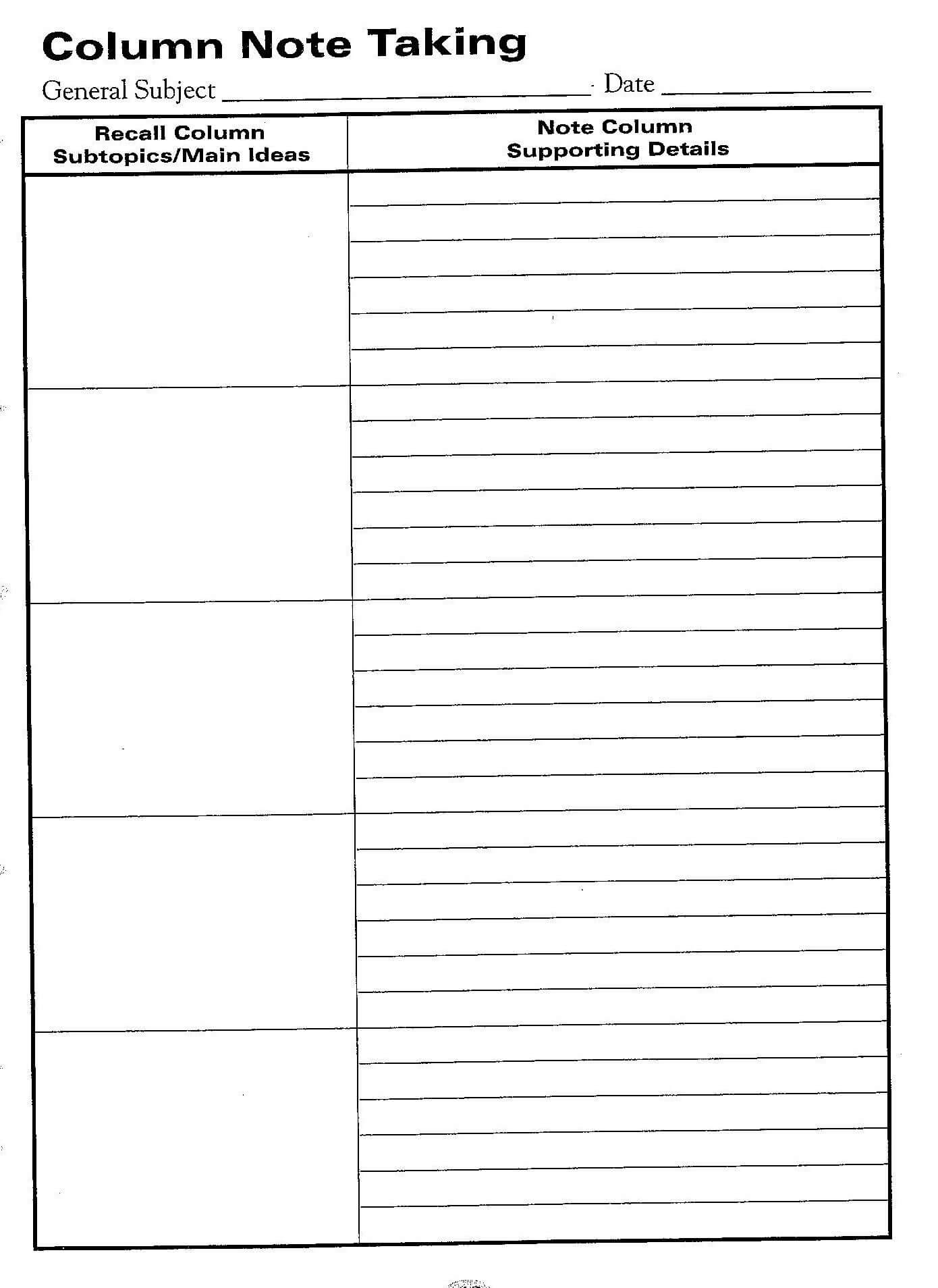 Free Printable Cornell Notes Graphic Organizer |  Comic throughout Cornell Note Template Word