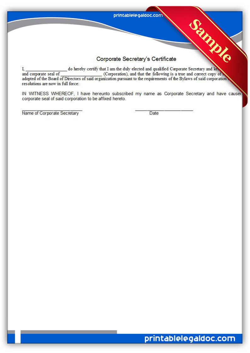 Free Printable Corporate Secretary's Certificate Form (Generic) Pertaining To Corporate Secretary Certificate Template