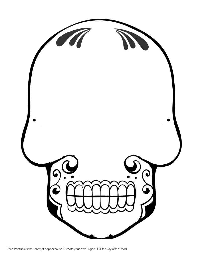 Free Printable Create A Sugar Skull For Day Of The Dead pertaining to Blank Sugar Skull Template