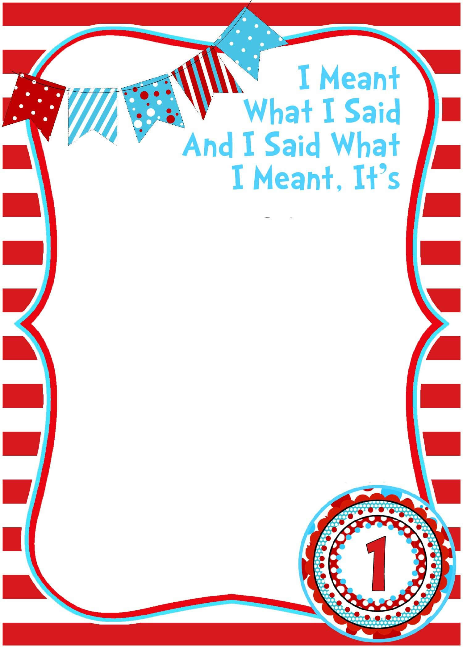 Free Printable Dr Seuss Birthday Invitations   Dr Seuss Intended For Dr Seuss Birthday Card Template