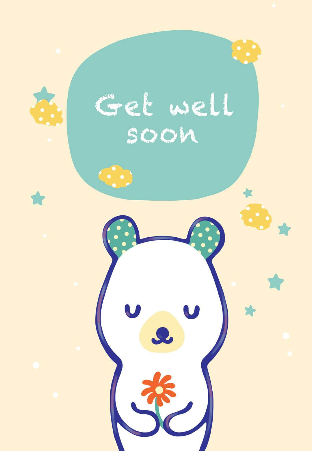 Free Printable Get Well Teddy Bear Greeting Card | Get Well throughout Get Well Soon Card Template