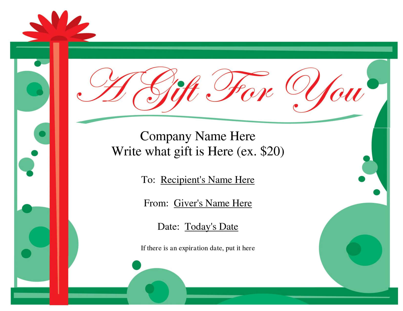 Free Printable Gift Certificate Template | Free Christmas Throughout Free Christmas Gift Certificate Templates