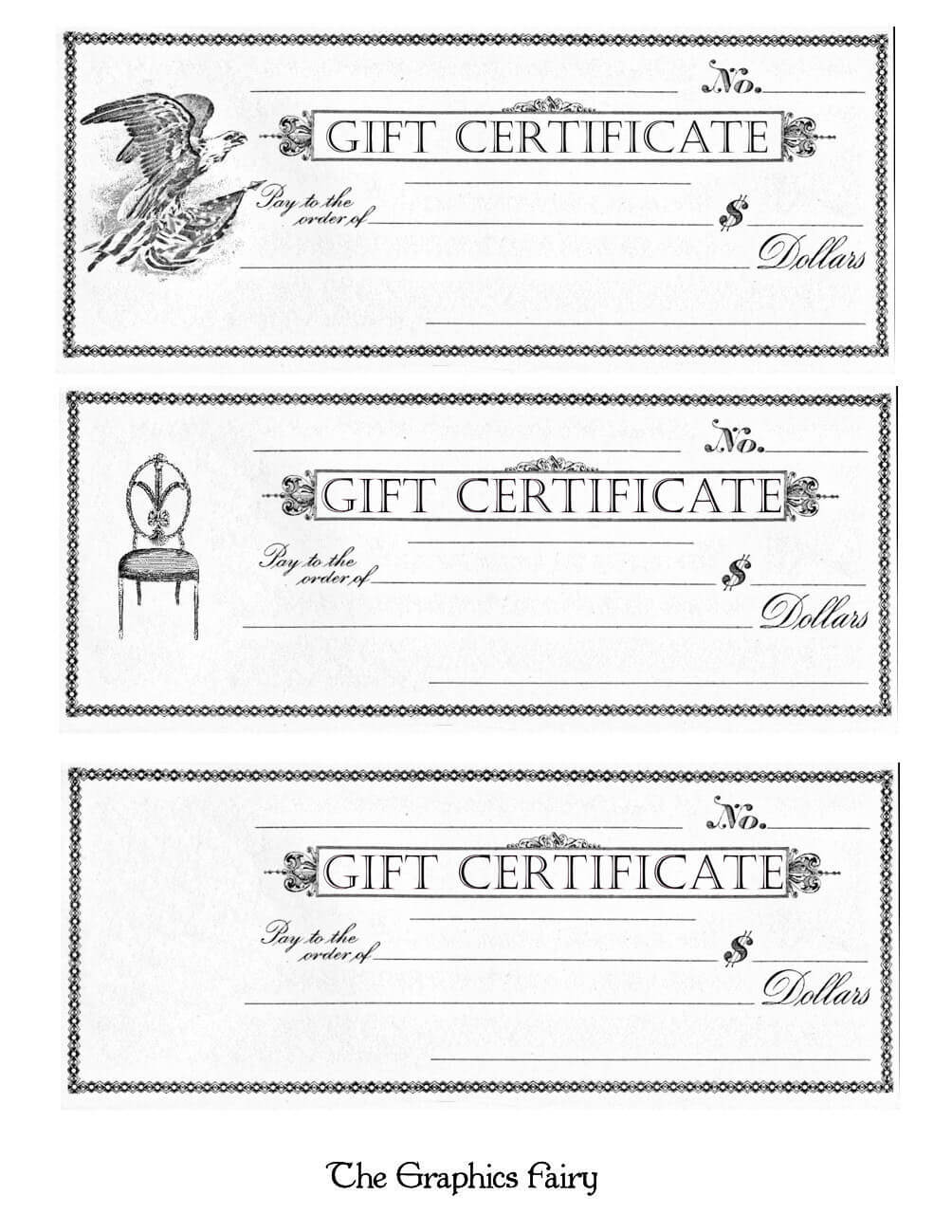 Free Printable – Gift Certificates – The Graphics Fairy Inside Black And White Gift Certificate Template Free