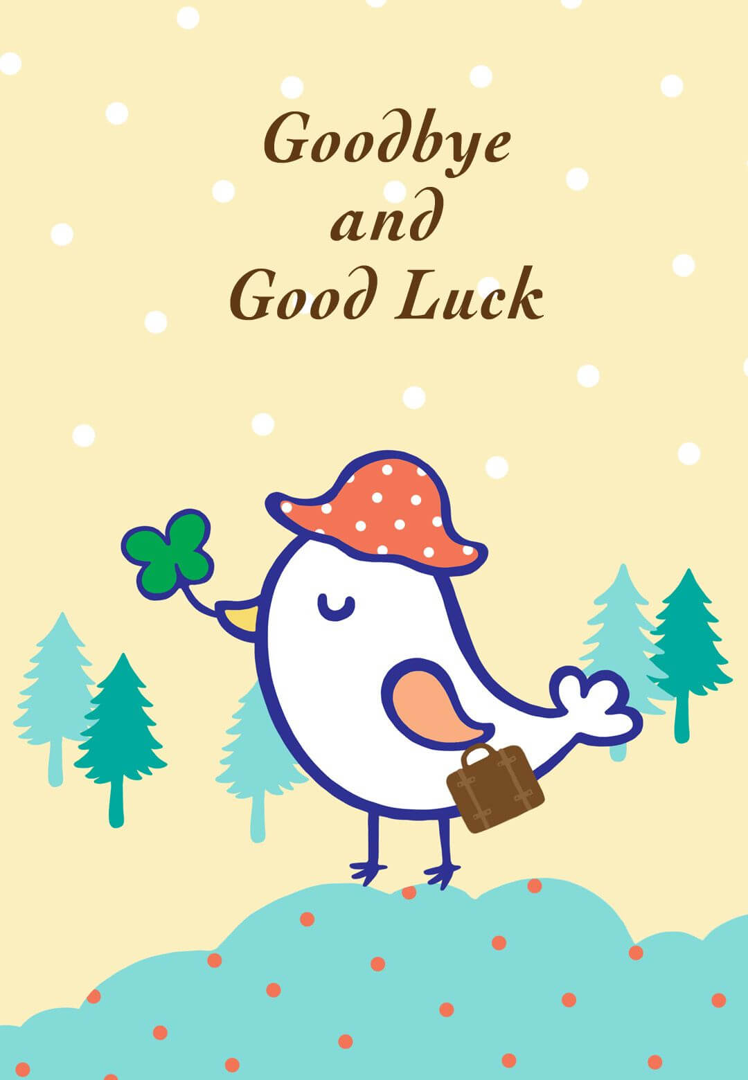 Free Printable Goodbye And Good Luck Greeting Card Inside Throughout Farewell Card Template Word