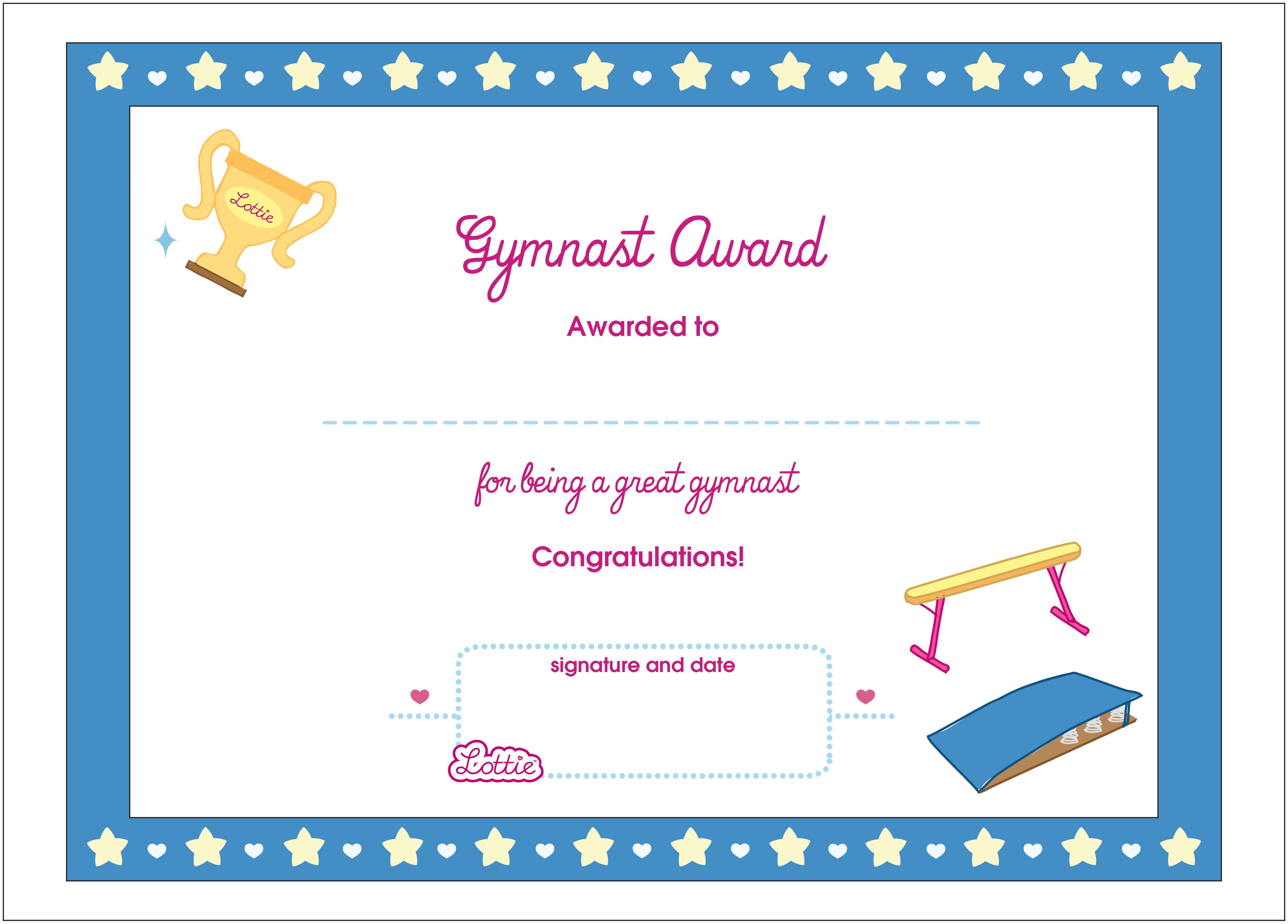 Free Printable Gymnastics Awards | Download Them Or Print With Gymnastics Certificate Template