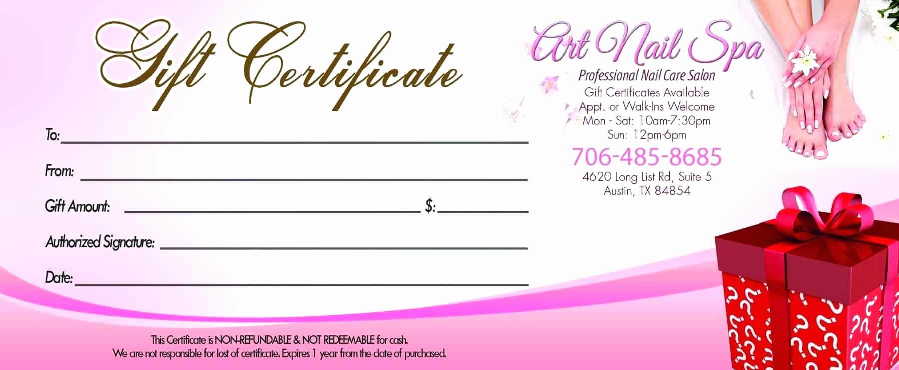 Free Printable Hair Salon Gift Certificate Template | Mult Within Nail Gift Certificate Template Free