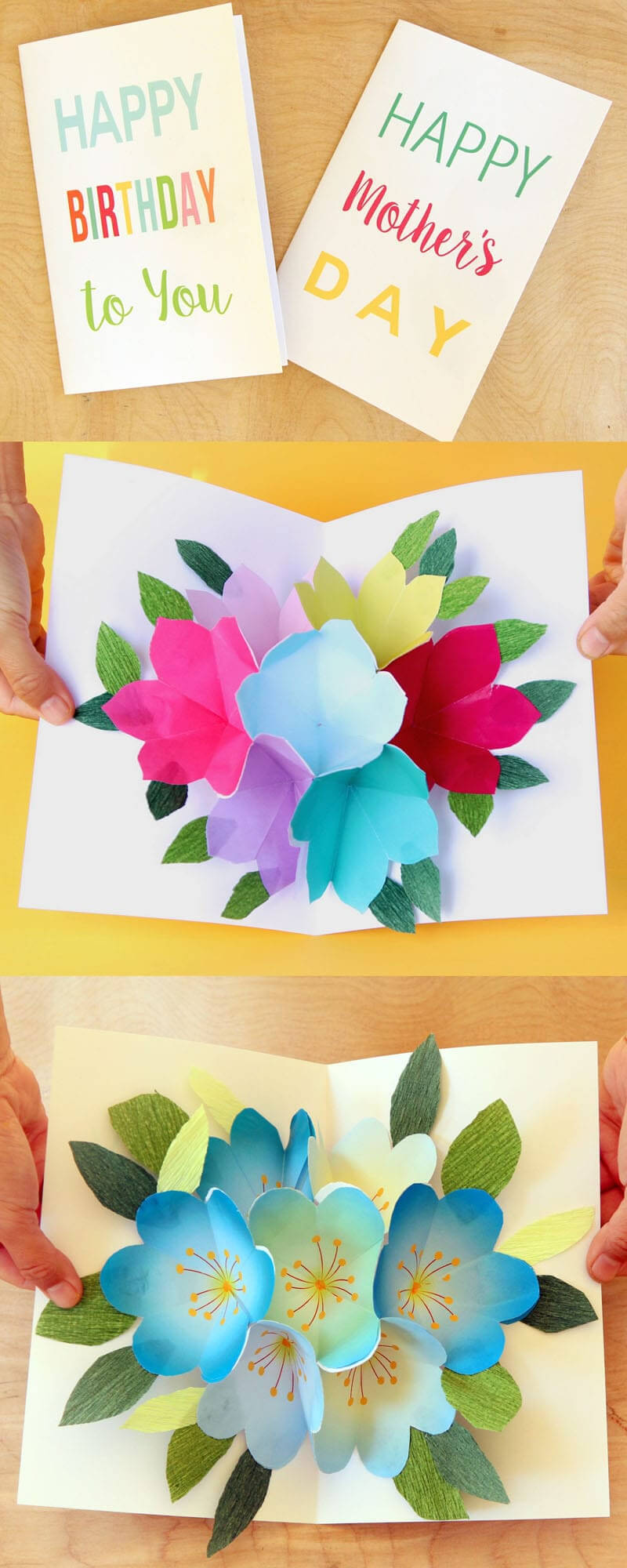 Free Printable Happy Birthday Card With Pop Up Bouquet - A inside Mom Birthday Card Template