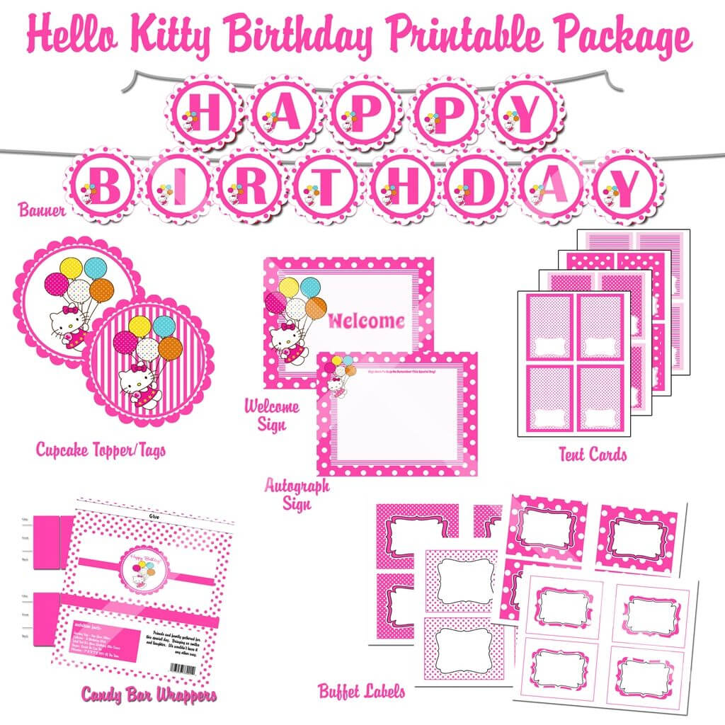 Free Printable Hello Kitty 1St Birthday Invitations with regard to Hello Kitty Birthday Banner Template Free