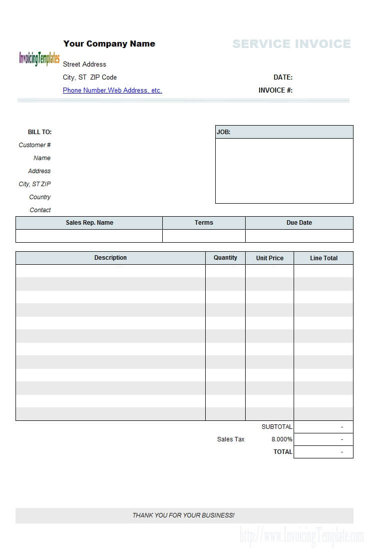 Free Printable Invoices For Contractors 1099 Invoice within Free Printable Invoice Template Microsoft Word
