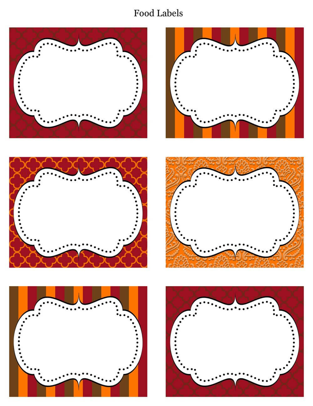 Free Printable Labels & Tags - For Food Buffet. Just Printed regarding Blank Food Label Template
