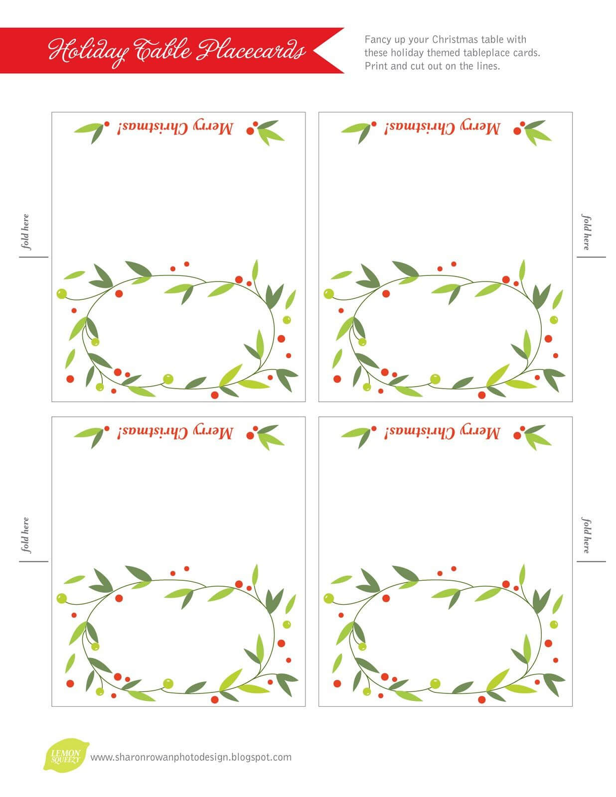 Free Printable Lemon Squeezy: Day 12: Place Cards Pertaining To Christmas Table Place Cards Template