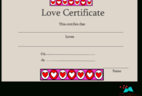 Free Printable Love Certificates for Love Certificate Templates