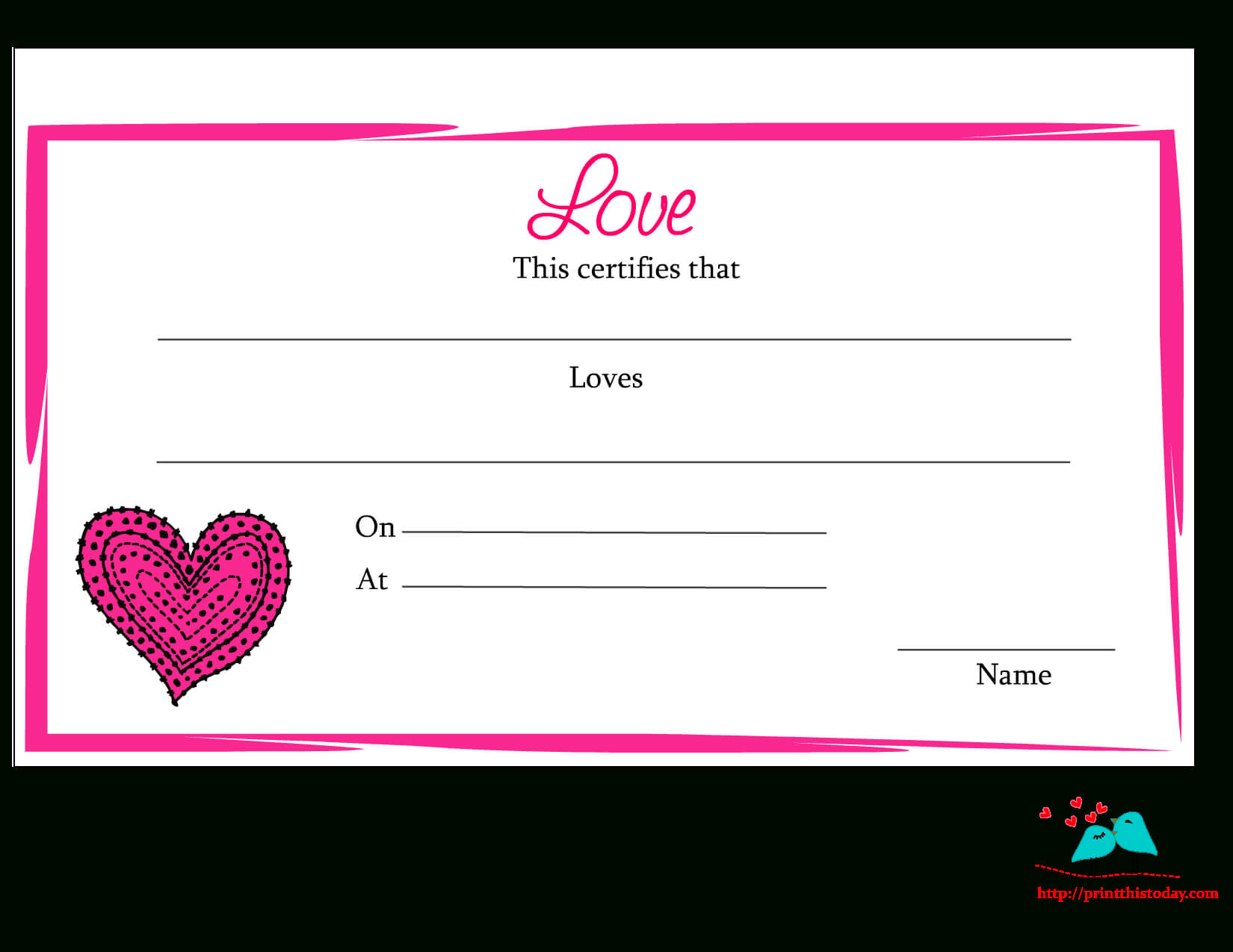Free Printable Love Certificates Regarding Love Certificate Templates