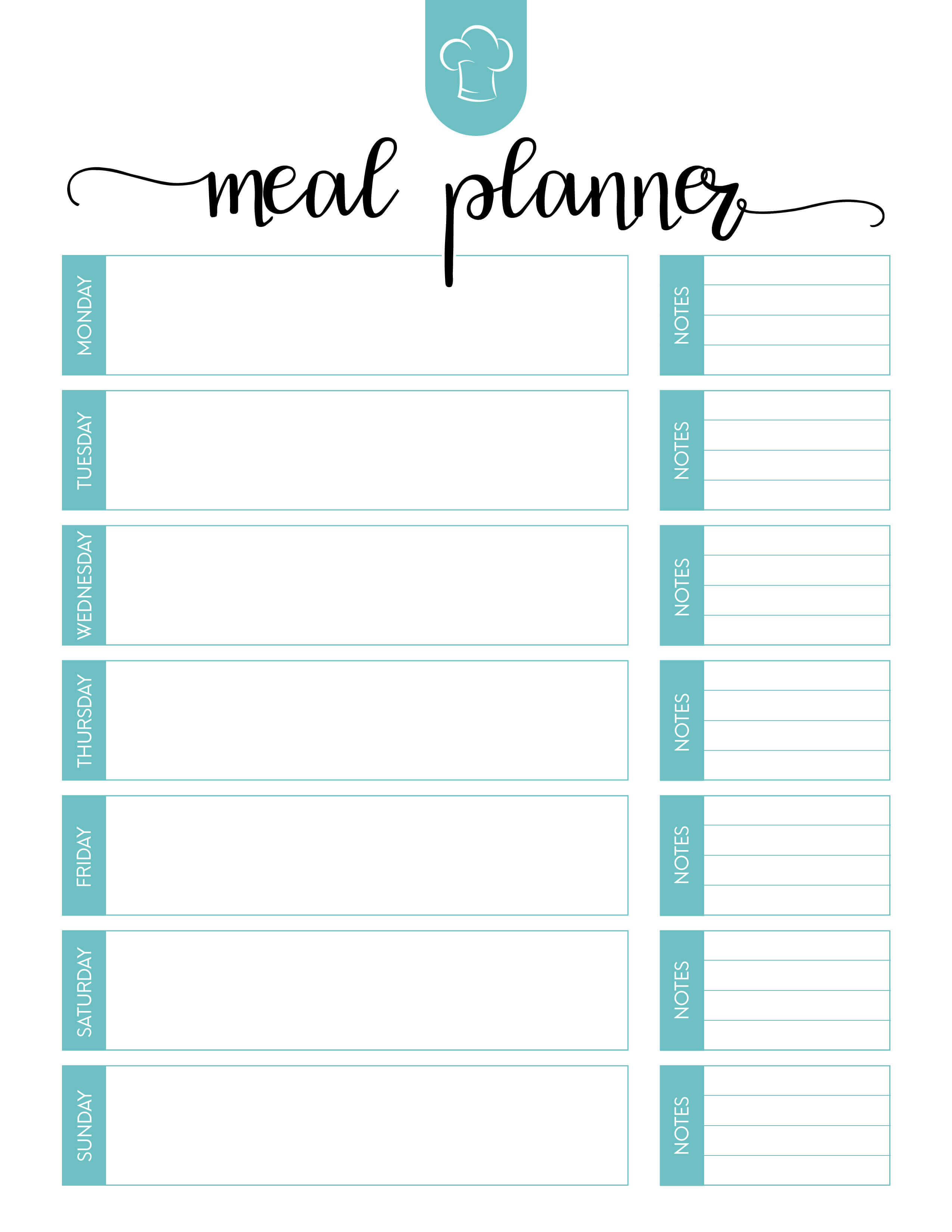 Free Printable Meal Planner Set - The Cottage Market for Blank Meal Plan Template