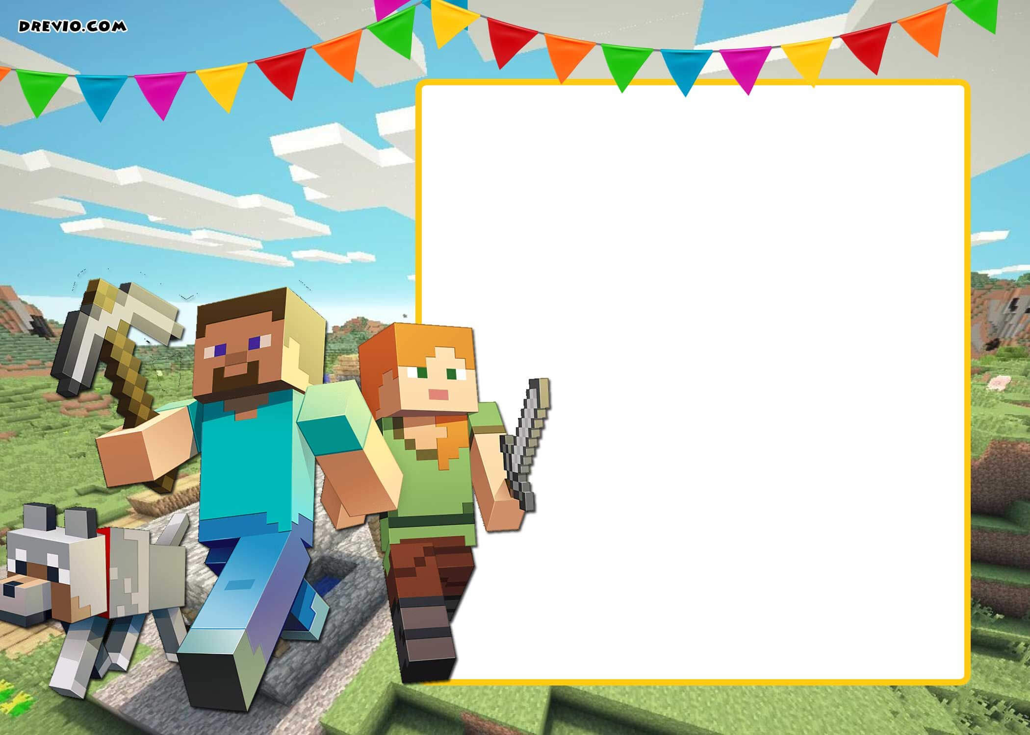 Free Printable Minecraft Birthday Invitation Template inside Minecraft Birthday Card Template