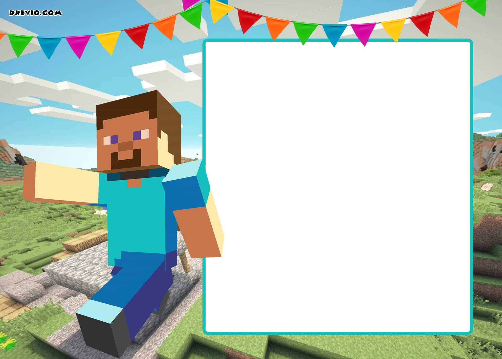 Free Printable Minecraft Birthday Invitation Template within Minecraft Birthday Card Template