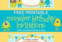 Free Printable Monster Birthday Invitations | Monster for Monster High Birthday Card Template