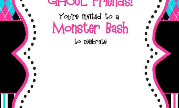 Free Printable Monster High Birthday Invitations | Free within Monster High Birthday Card Template