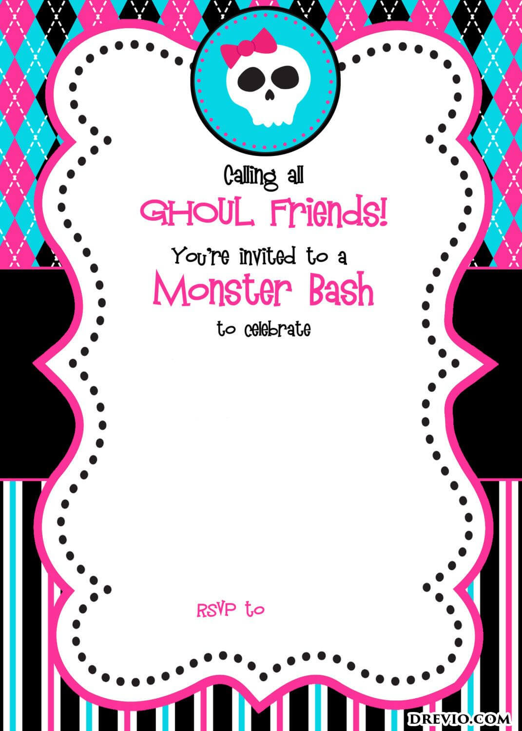 Free Printable Monster High Birthday Invitations | Free Within Monster High Birthday Card Template