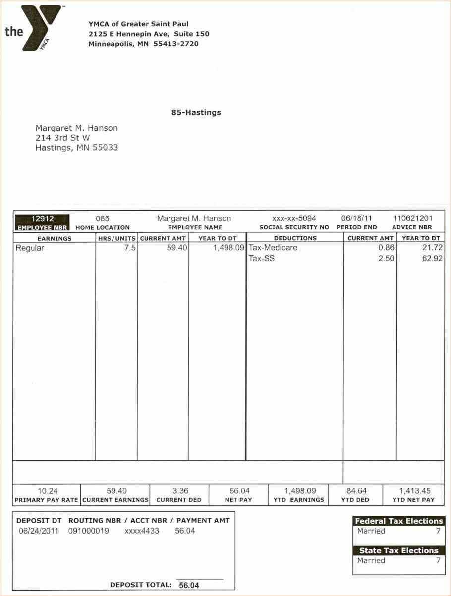 Free Printable Pay Stub Template Canada Check Templates with regard to Blank Pay Stub Template Word