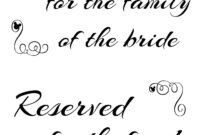 Free Printable Reserved Seating Signs For Your Wedding for Reserved Cards For Tables Templates