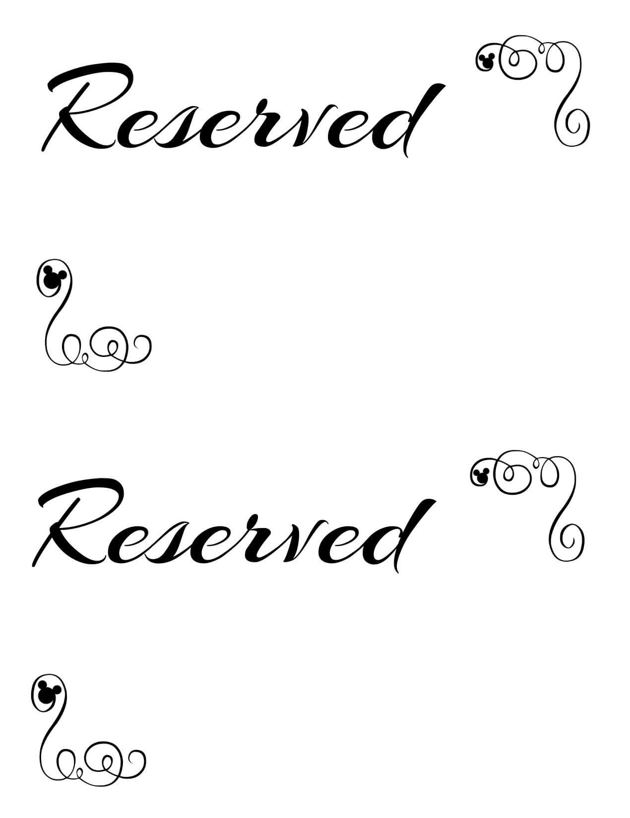 Free Printable Reserved Seating Signs For Your Wedding throughout Reserved Cards For Tables Templates