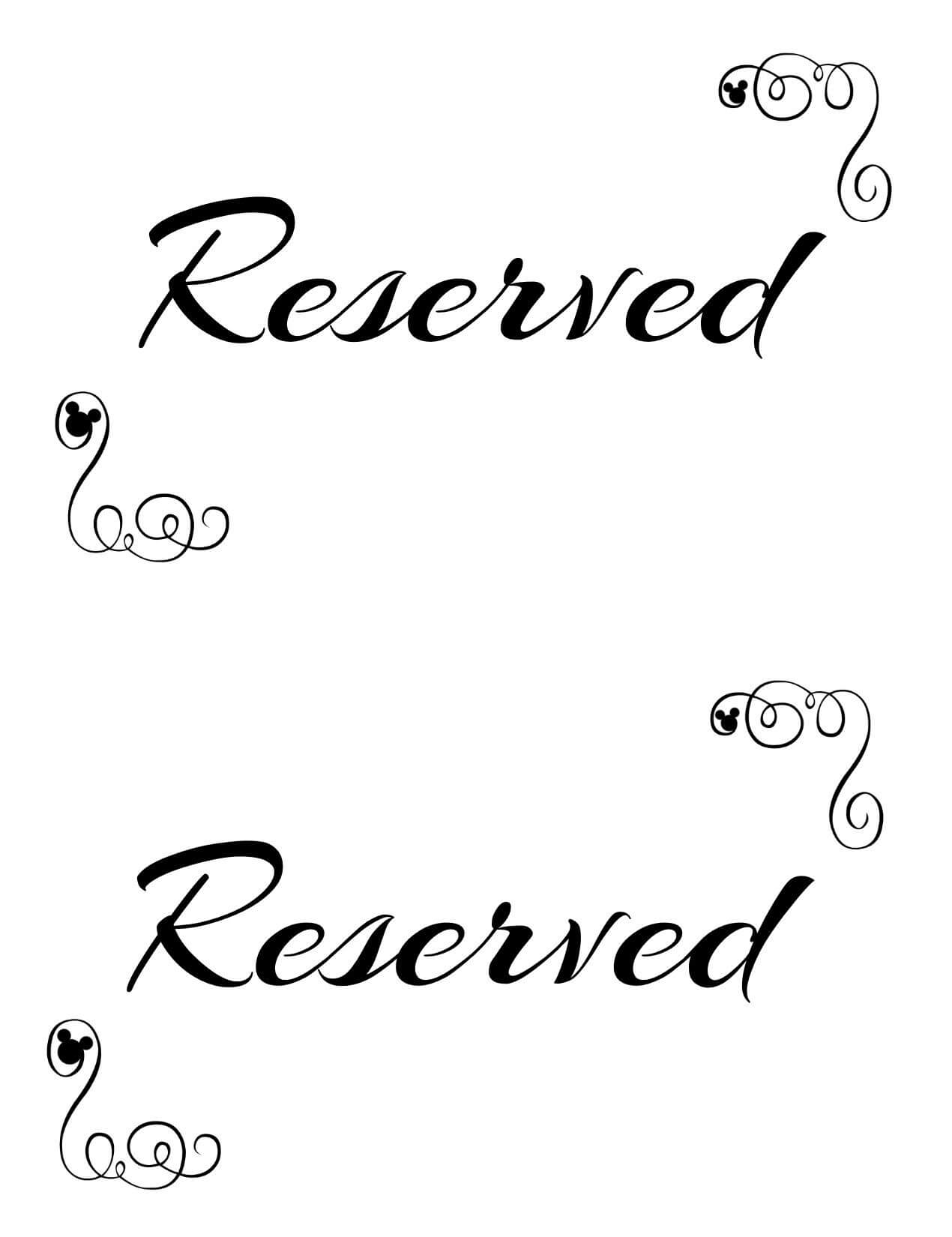 Free Printable Reserved Seating Signs For Your Wedding With Reserved Cards For Tables Templates