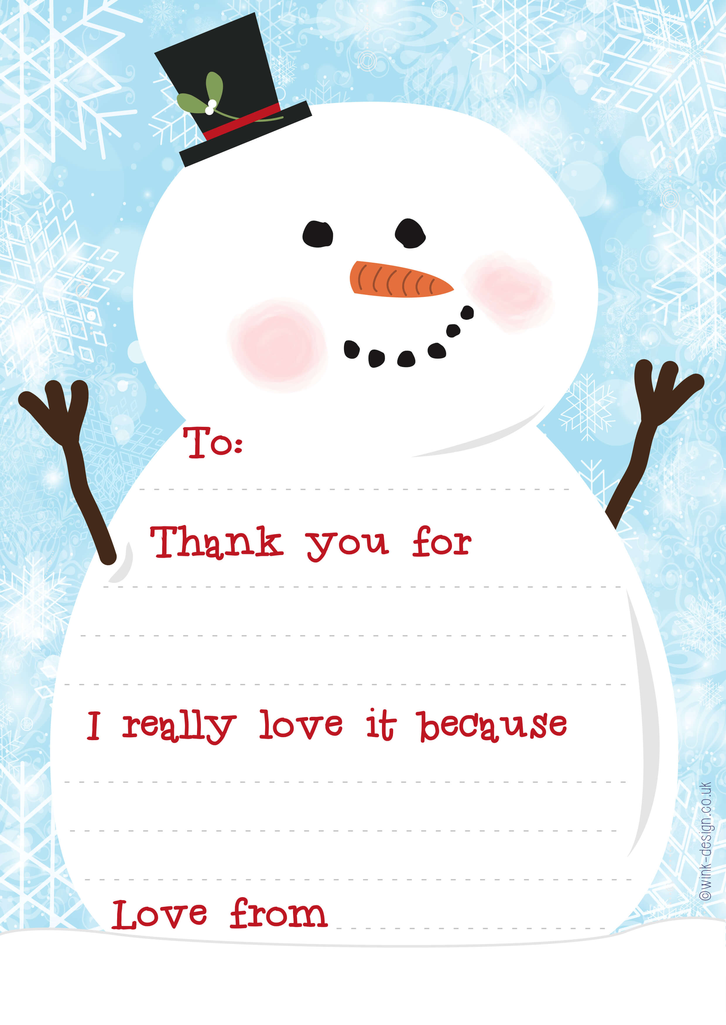 Free Printable Snowman Christmas Thank You Letters - Wink Design pertaining to Christmas Thank You Card Templates Free