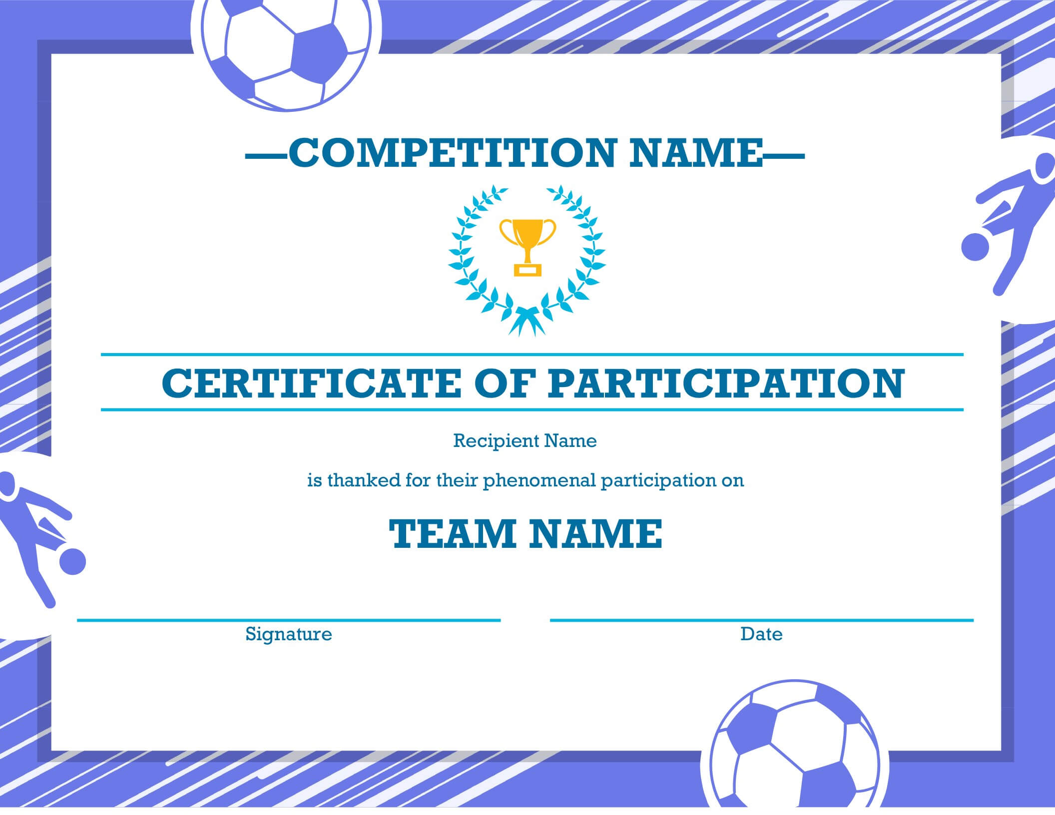 Free Printable Soccer Certificate Four Sports Awards in Soccer Certificate Templates For Word