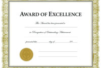 Free Printable Soccer Certificate Templates Award Template with Certificate Of Achievement Template Word
