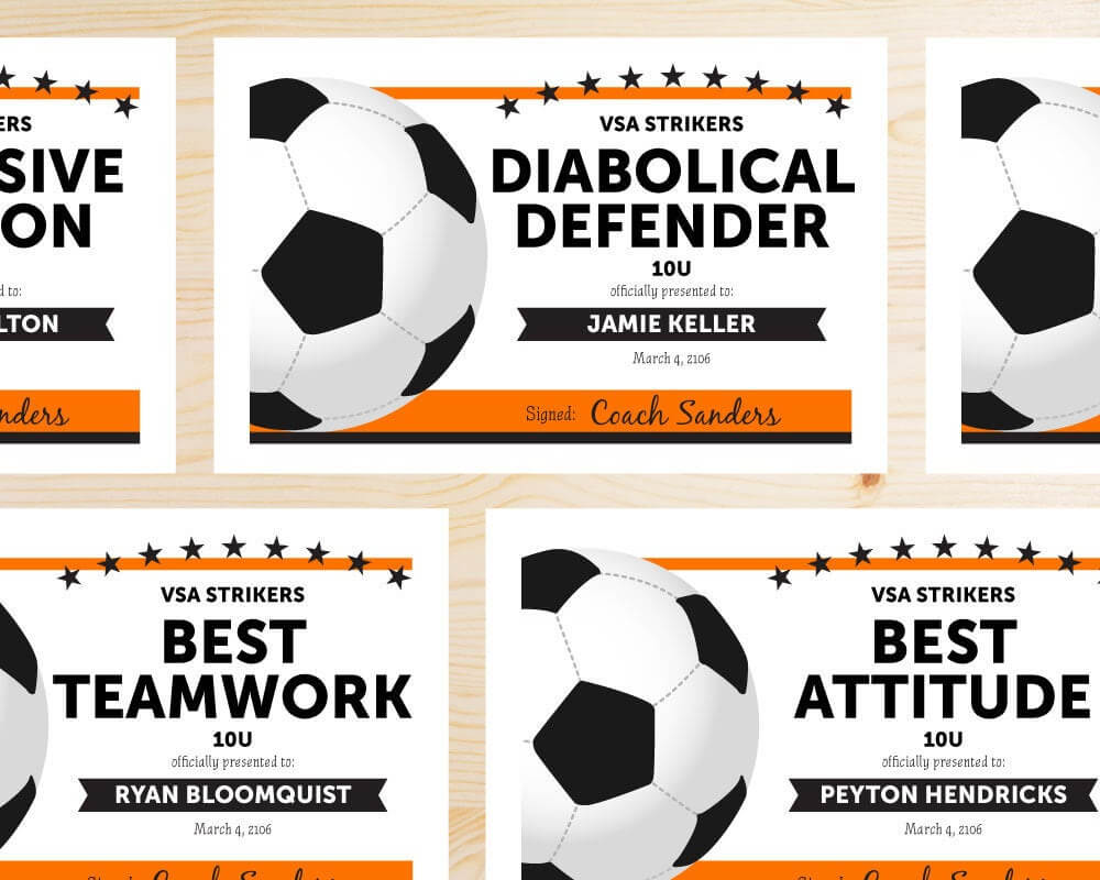Free Printable Soccer Certificate Templates Editable Award in Soccer Certificate Template Free