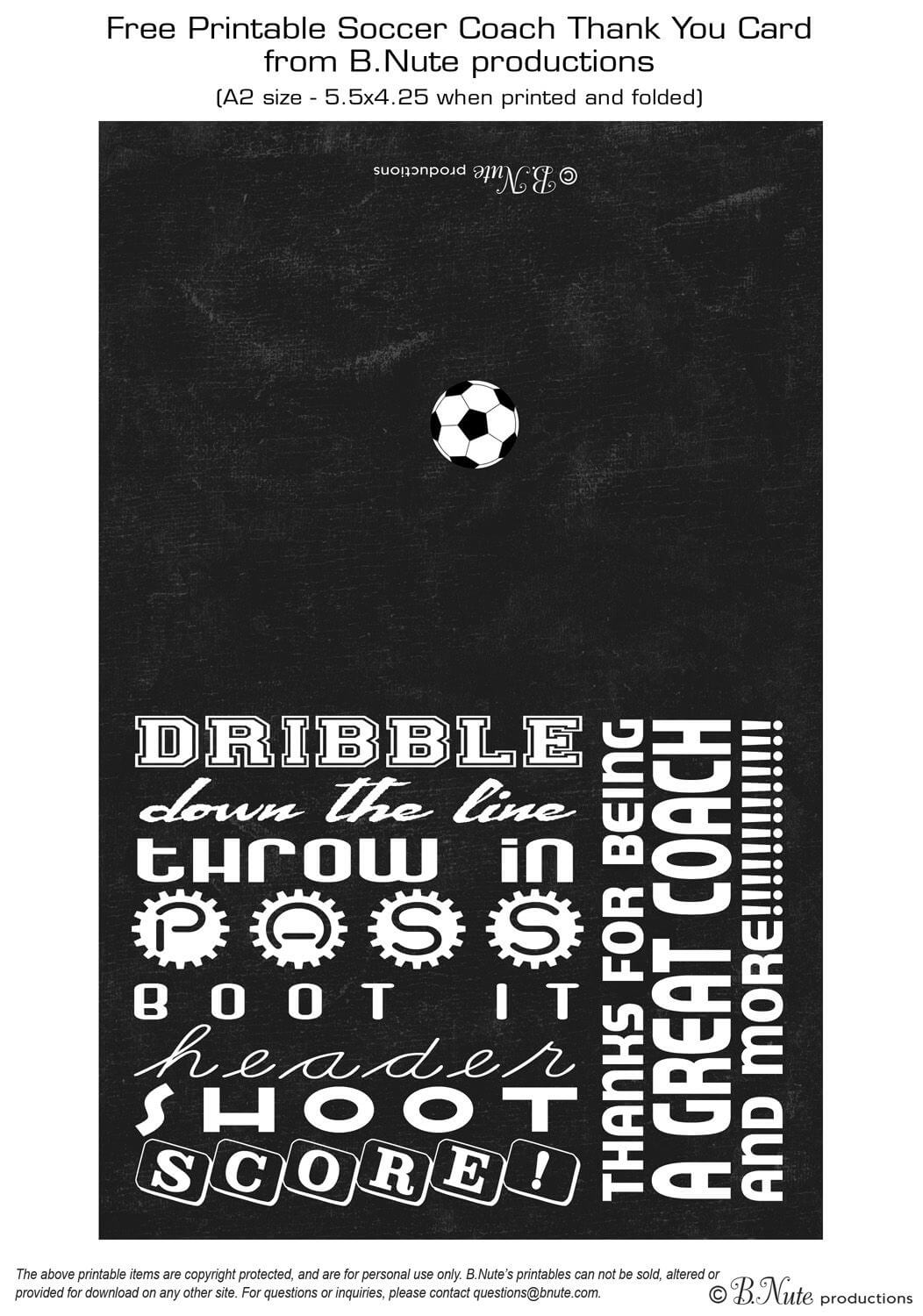 Free Printable Soccer Coach Thank You Card From B.nute pertaining to Soccer Thank You Card Template