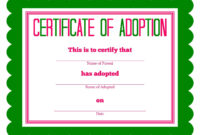 Free Printable Stuffed Animal Adoption Certificate Intended For Blank Adoption Certificate Template