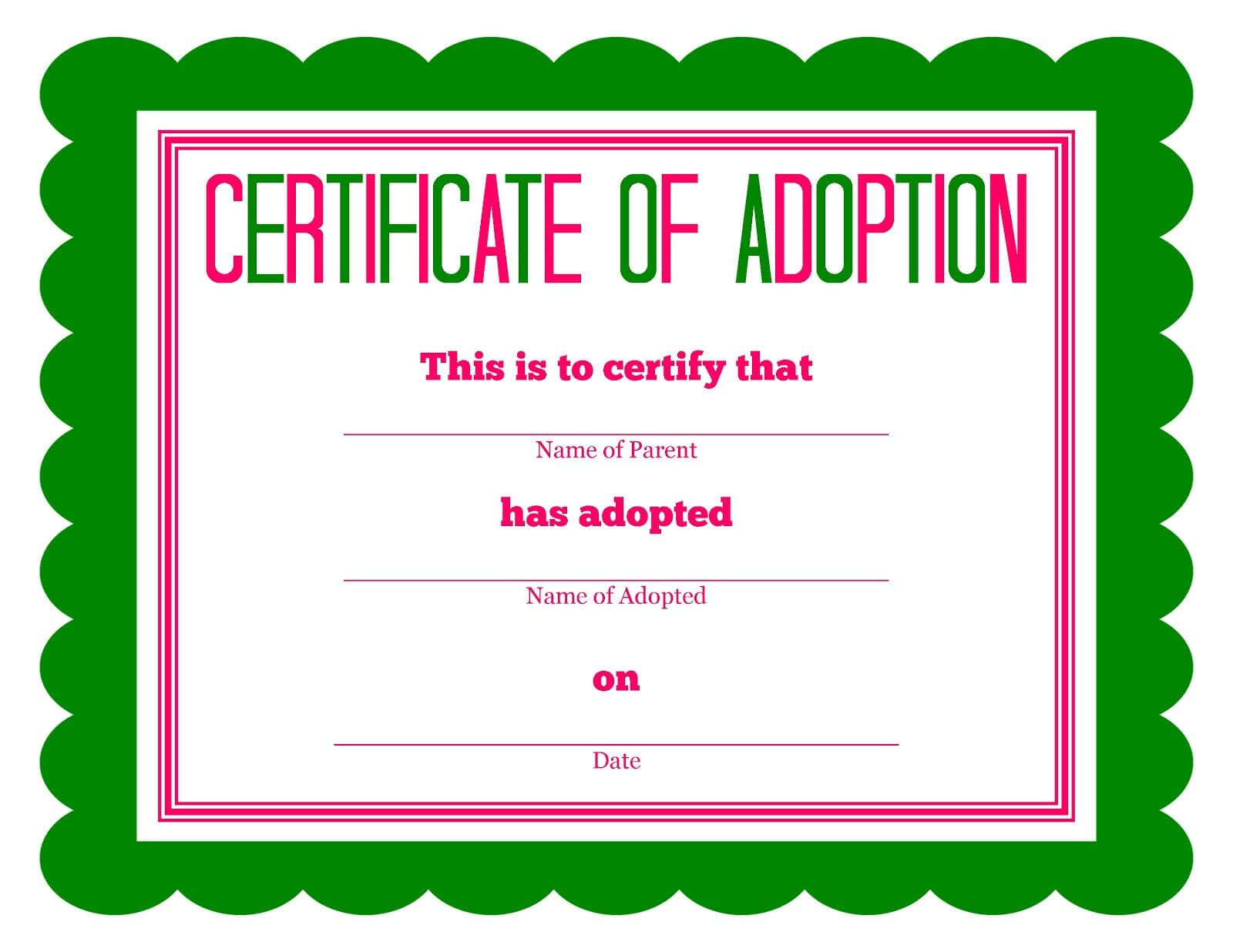 Free Printable Stuffed Animal Adoption Certificate Intended For Blank Adoption Certificate Template