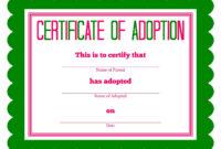 Free Printable Stuffed Animal Adoption Certificate with regard to Child Adoption Certificate Template