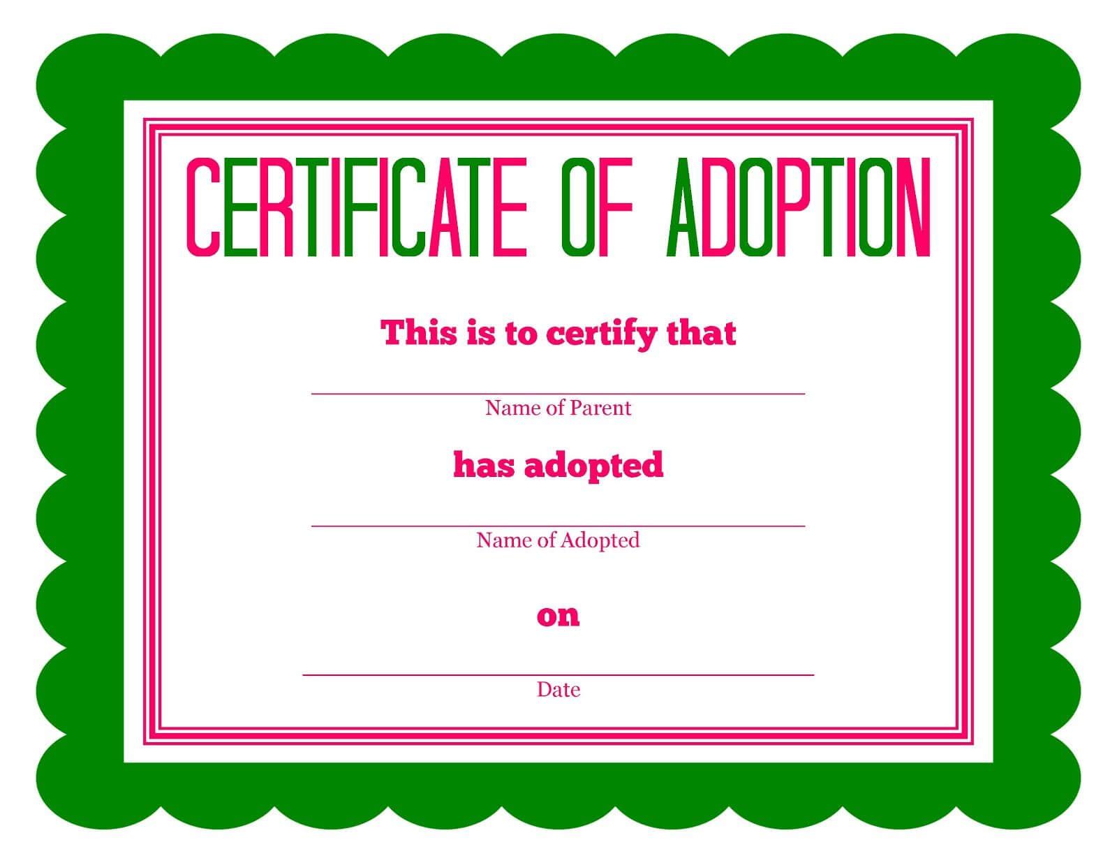 Free Printable Stuffed Animal Adoption Certificate With Toy Adoption Certificate Template