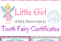 Free Printable Tooth Fairy Certificates | Tooth Fairy for Free Tooth Fairy Certificate Template