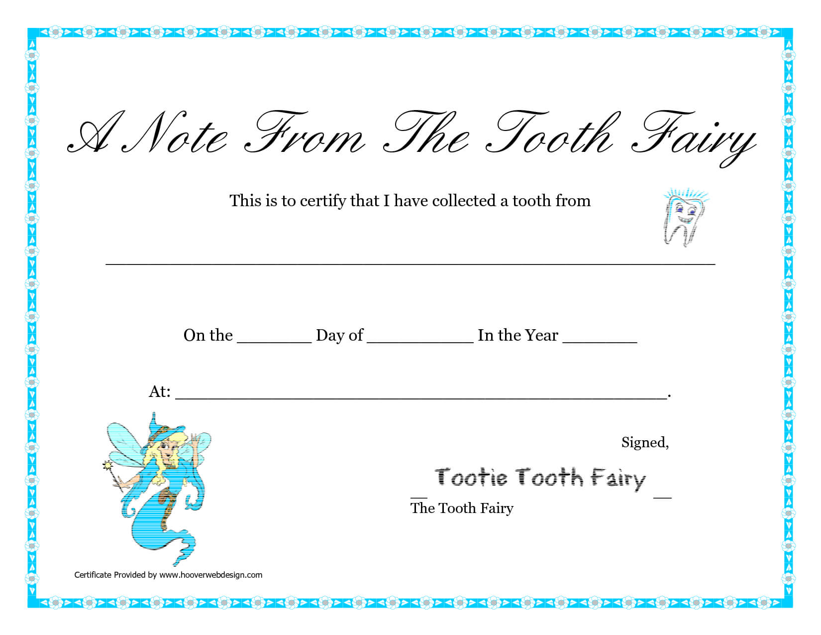 Free Printable Tooth Fairy Letter | Tooth Fairy Certificate Within Free Tooth Fairy Certificate Template
