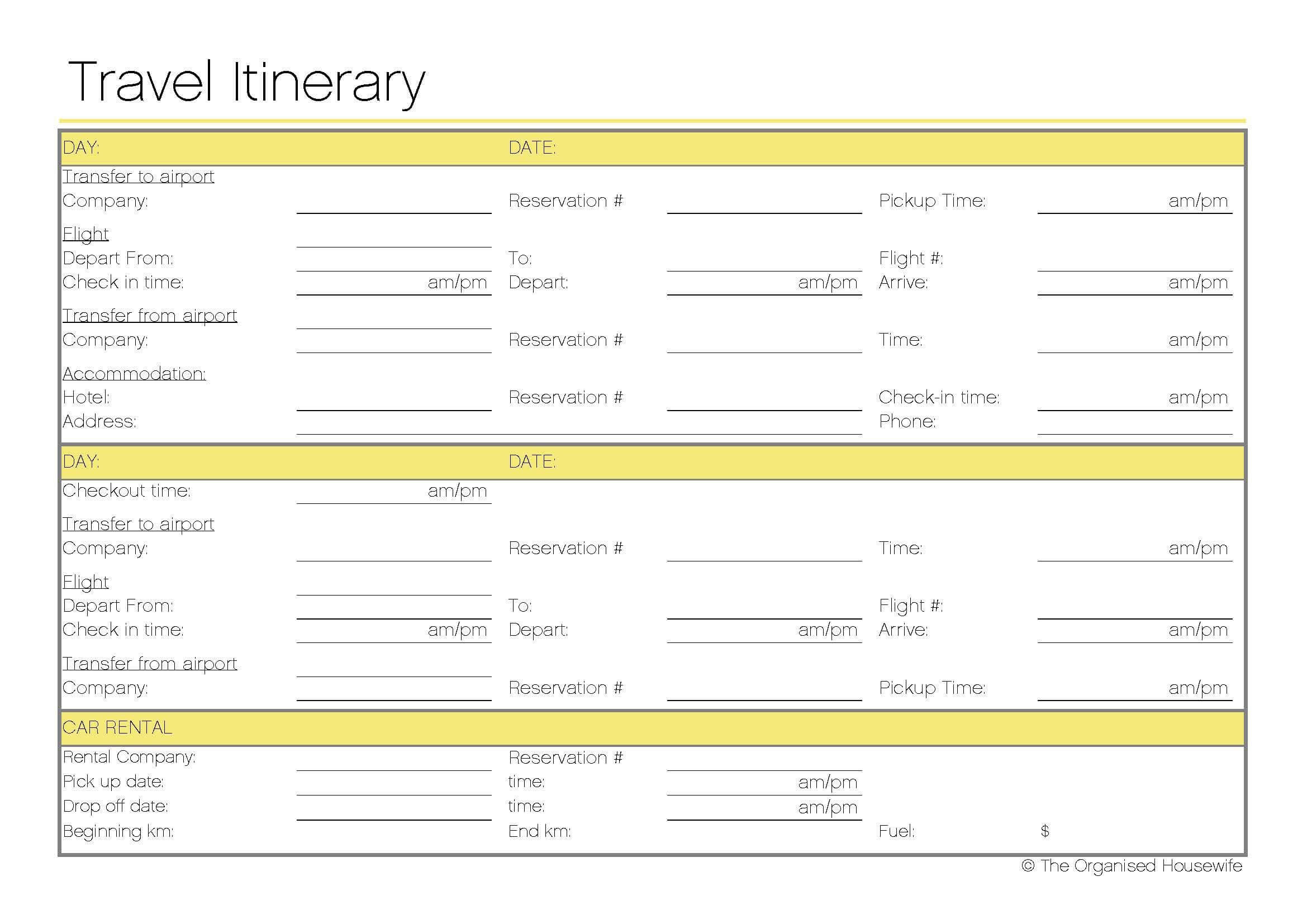 Free Printable – Travel Itinerary | Travel Itinerary Inside Blank Trip Itinerary Template