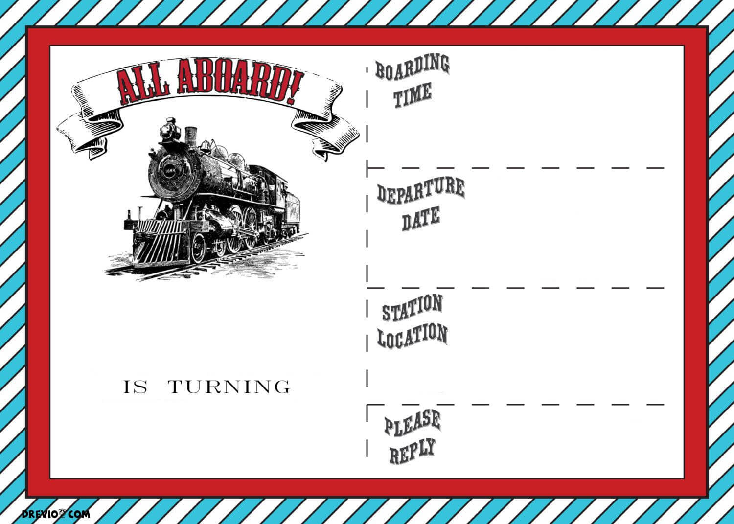 Free Printable Vintage Train Ticket Invitation Template For Blank Train Ticket Template