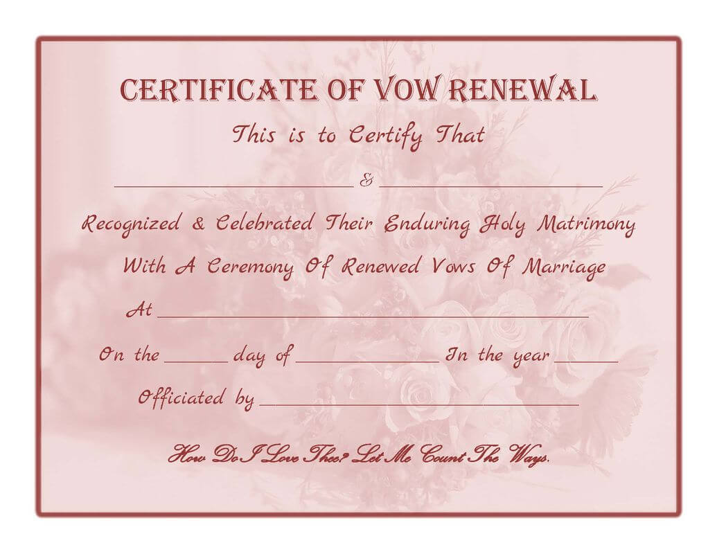 Free Printable – Vow Renewal Certificate | Cheap Wedding Pertaining To Anniversary Certificate Template Free