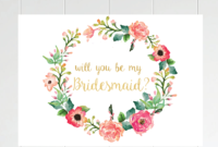 Free Printable Will You Be My Bridesmaid Card. Only At inside Will You Be My Bridesmaid Card Template