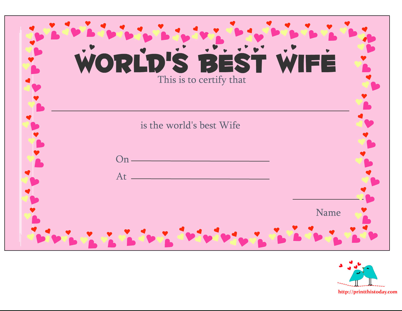 Free Printable World's Best Wife Certificates intended for Love Certificate Templates