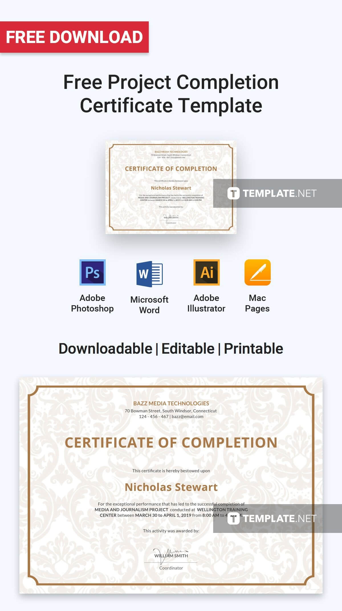Free Project Completion Certificate | Certificate Templates throughout Certificate Template For Project Completion