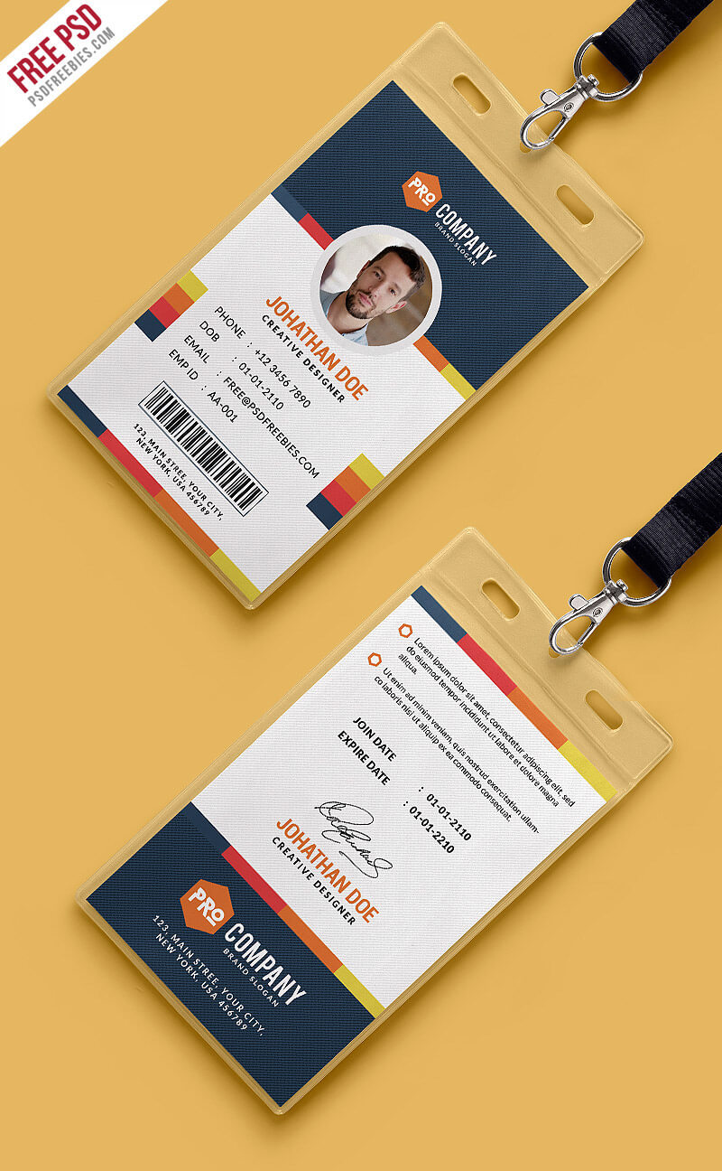 Free Psd : Creative Office Identity Card Template Psd On Behance intended for Id Card Design Template Psd Free Download