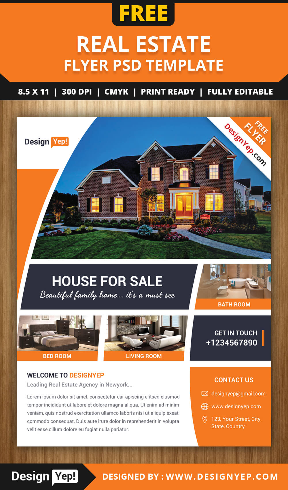 Free Real Estate Flyer Psd Template - Designyep pertaining to Real Estate Brochure Templates Psd Free Download