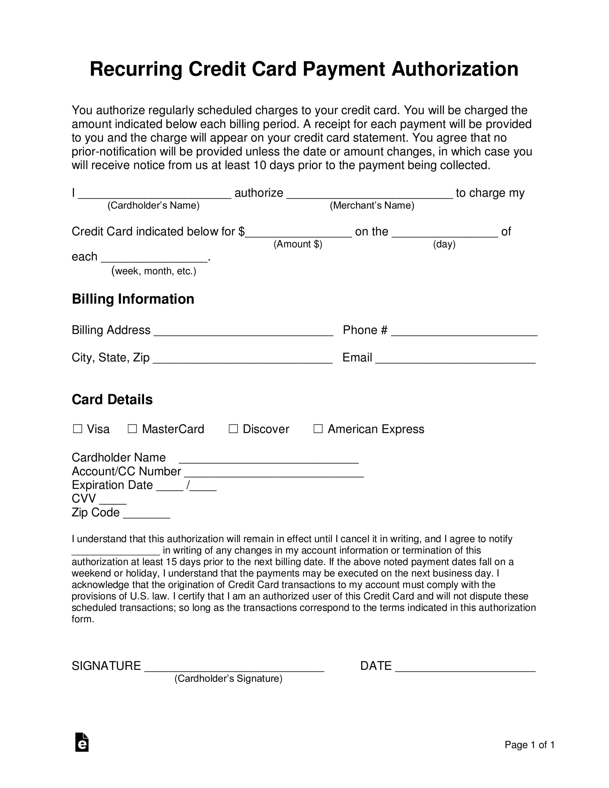 Free Recurring Credit Card Authorization Form - Word   Pdf with regard to Credit Card Billing Authorization Form Template