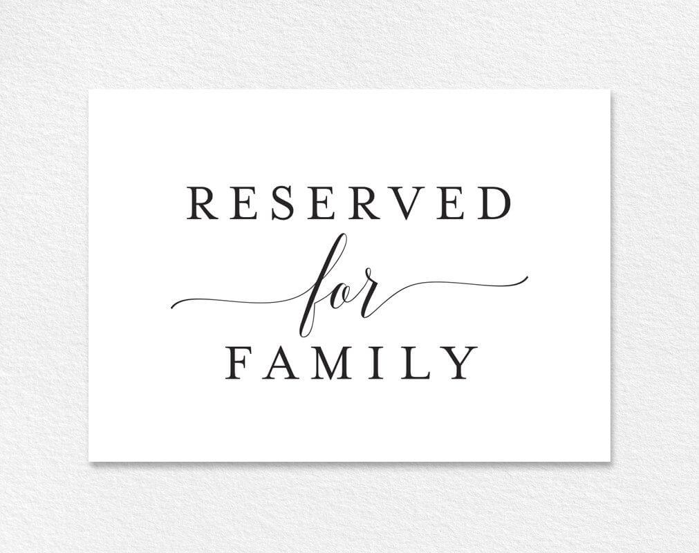 Free Reserved For Family Printable Card From | Colour inside Reserved Cards For Tables Templates